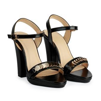 Giày Sandal Nữ Cao Gót Đế Đúp Quai Ngang HC1373 (Đen)
