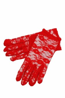 Fancyqube Women Lace Gloves Wedding Ritual Performances Gloves (Red)