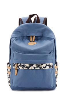 Flower Printed Multi-purpose Waterproof Canvas Schoolbag School Outdoor Travel Backpack Tablet Laptop Carry Bag Blue for Women Girls Student - intl