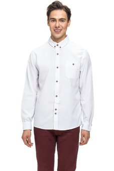 Bellfield Men's Long Sleeve Button Down Shirt White