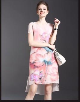 Đầm Suông Lụa In Hoa
