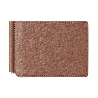 Baggra Men Wallet Money Clip PU Leather Card Holder Case Business Wallet 2 Folds Cash Clip Brown - intl