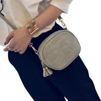 Fashion Women Leather Handbag Crossbody Shoulder Messenger Phone Coin Bag Grey - intl