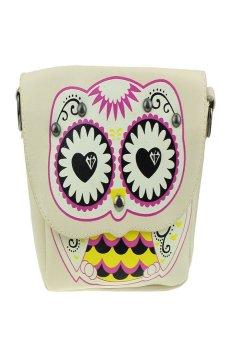 HKS Fashion Owl Printed Pattern Diagonal Package Shoulder Bag Mini Packet Beige - intl