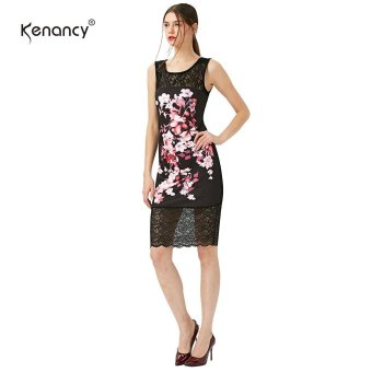 Kenancy Floral Printing Dress Elegant Lady Pencil Dress Lace Stiching Sleeveless Wear To Work Sheath Dress(Black) - intl