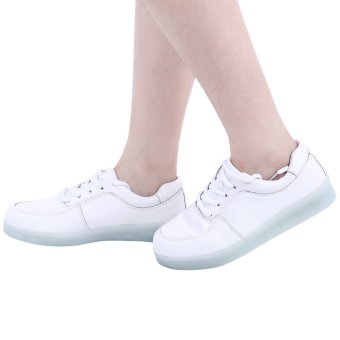 Casual Lace Up LED Male USB Charged Luminous Sneakers(White) - intl