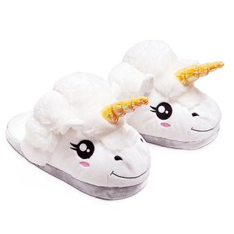 Unisex Cartoon Unicorn Style Winter Indoor Anti-slip Plush Slipper Soft Warm Plush Slippers Average Size for EU 36-41 - intl
