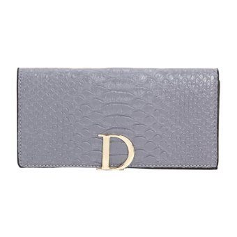 Women Leather Wallet crocodile pattern(Gray) - INTL