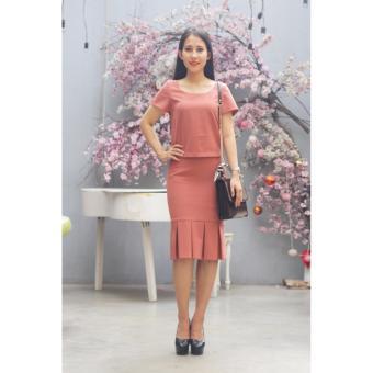 Đầm công sở Cocoxi màu hồng đất 18BD04R