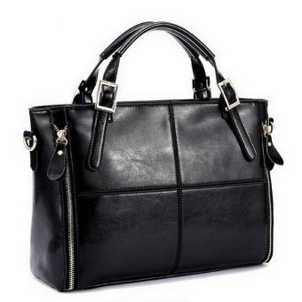 2017 Fashion patchwork leather bags women handbag ladies shoulder bags (Black) - intl