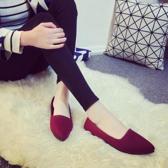 Giày búp bê mũi nhọn đế êm thời trang Bomdo- BGLD0104 ( đỏ)