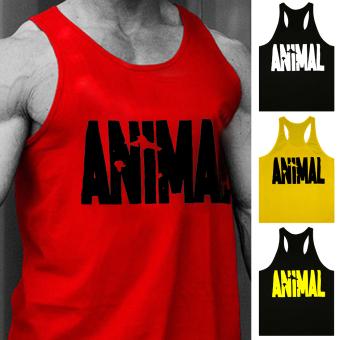 Moonar Men's Fashion Animal Letters Pattern Fitness Tank Top H-back Vest M-XXL (Red) - intl