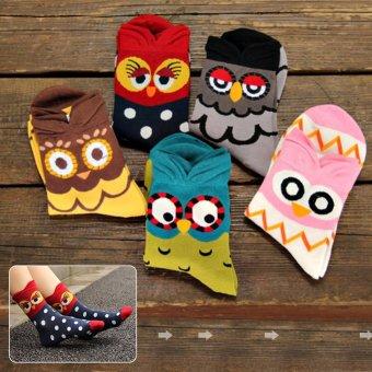 Moonar Cartoon Colorful Owl Socks Women Cotton Socks (yellow) - intl