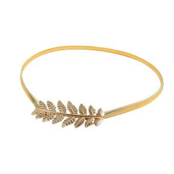 New Fashion Vintage Women Skinny Elastic Belt Leaf Design Clasp Front Stretch Metal Waist Belt Gold/Silver - Intl