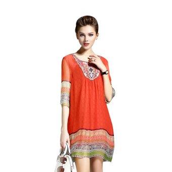 Đầm suông họa tiết thổ cẩm BeYeu1688 - BY8034