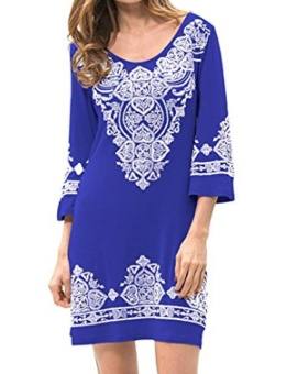 Cyber New Fashion Women Casual Plus O-Neck Floral A-Line Hem Pullover Print Loose Dress ( Blue ) - intl