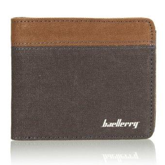 Fashion Mens Canvas Bifold Wallet Credit/ID Card Holder Slim Coin Purse Pocket Grey - Intl