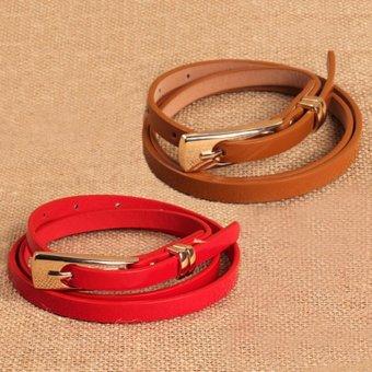 Combo 2 thắt lưng nữ bảng nhỏ đầu kim thời trang (đỏ- nâu)