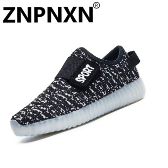 Fashion Sneakers Comfort Children Usb Led Flash Casualsneakers Size 25-37(Black) - intl