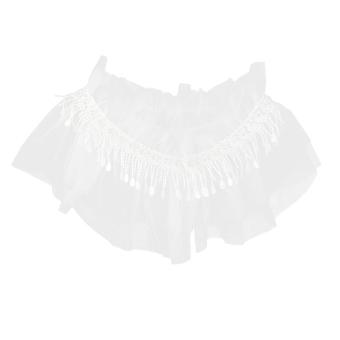 Crystal Rhinestone Wedding Double Layer Gauze Lace Flower Tassal Trimming - Intl