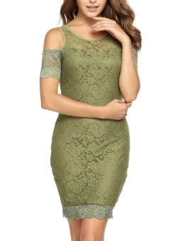 Cyber Women Cold Shoulder Short Sleeve Bodycon Floral Lace Party Cocktail Dress ( Amy Green ) - intl