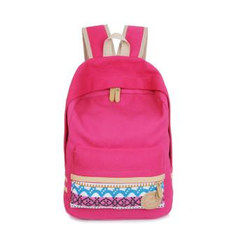 Women Canvas Shoulder School Bag Bookbag Backpack Travel Rucksack Handbag Hot pink (Intl)
