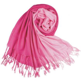 Women Long Pashmina Stole Tassels Winter Gradient Color Wool Scarf Shawl Wrap Pink Rose - Intl - Intl