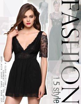 Sunweb Finejo Stylish Ladies Women V-neck Short Sleeve Off the shoulder Formal Mini Dress ( Black ) - intl
