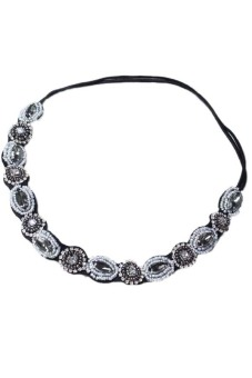 Fancyqube Chic Retro Style Women'S Crystal Rhinestone Gray Beads Headband Hair Band Photo Color (Intl)