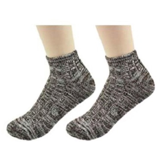Moonar Vintage Thick Thread Ankle Socks Sweet- Colored Cotton Boat Socks For Women (Coffee) - intl