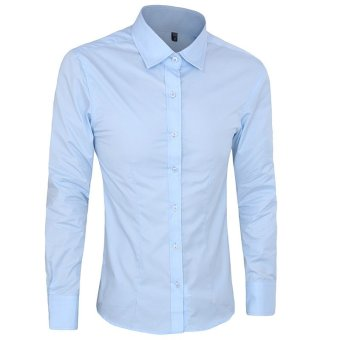 Autumn Fashion Men Clothes Slim Fit Men Long Sleeve Shirt Men Cotton Casual Men Shirt Social (Ligth blue) - intl