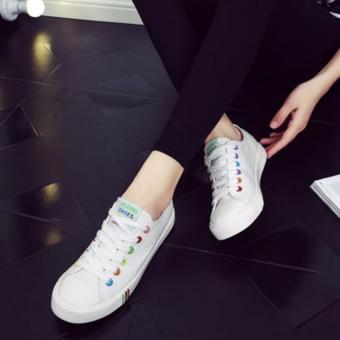 Giày thể thao màu trắng nút nhiều màu TT133