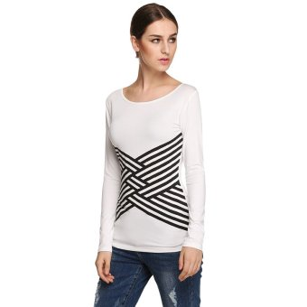 Cyber Finejo Women Cross Stripe Printed Stretch Round Neck Long Sleeve T Shirt Top ( White ) - Intl