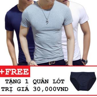Combo 3 áo thun nam body cổ tròn tặng kèm quần lót ( Xanh đen , Xám , Trắng )