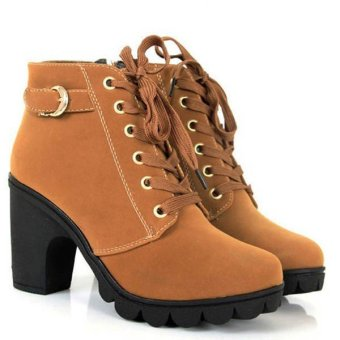 Martin Round Toe Thick High Heel Lace-up Side Zipper Women Boots Brown - intl
