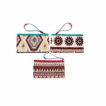 Bộ 3 ví cầm tay thổ cẩm chuông dài Hoian Gifts HA-3