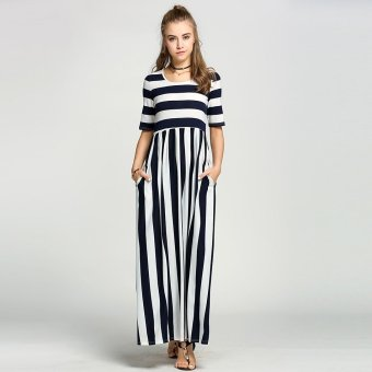 Sunweb Women Fashion Casual Round Neck Half Sleeve High Waist Striped Patchwork Long Maxi Dress ( Navy blue ) - intl