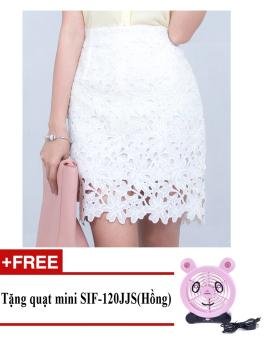 Chân váy midi Phối ren, hoa lá cách điệu Zaskin Korea ZA03V10 (Trắng) + Tặng quạt mini shinil SIF-120JJS (Hồng)