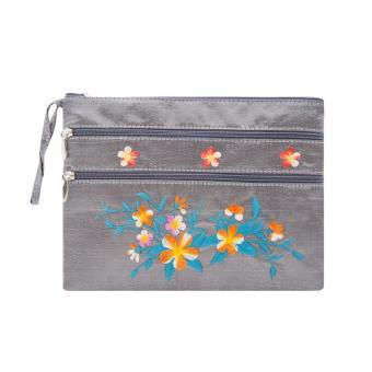 Ví cầm tay 3 khóa Hoian Gifts vải lụa thêu hoa (xám khói) HA-50S