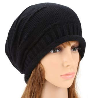 Cyber ANGVNS Fashion Unisex Elastics Warm Crochet Knit Beanie Hat Ski Hat Oversized Cap (Black)