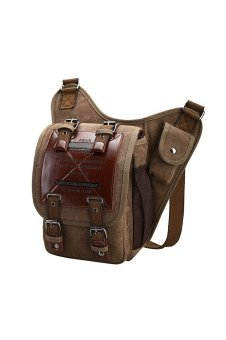 Men Sports Travel Hiking Cycling Outdoor Portable Canvas Crossbody Shoulder Messenger Phone Computer Bag Pack Organizer Pouch Brown (Intl)