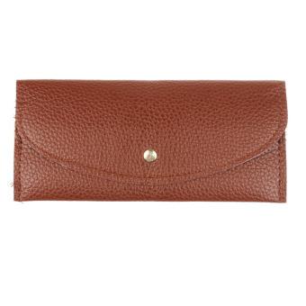 Candy Colors Envelope Slim Design Leather Wallet Brown