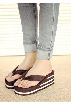 80621-3 Women Fashion Platform Flip Flop(Brown) - intl