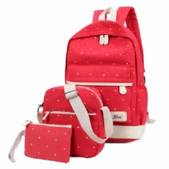 Bộ balo và túi xách + ví cầm tay nữ BNV01 (Đỏ chấm bi)
