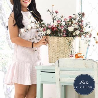 Váy vải cotton kẻ sọc hồng