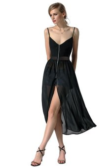 Cyber Finejo Women Gauze Patchwork Spaghetti Strap Chiffon Split Long Dress ( Black ) - Intl