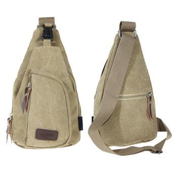 Men's Canvas Messenger Shoulder Bag (Khaki) - intl