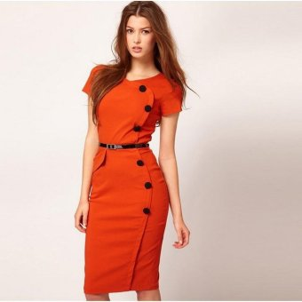Linemart New Vintage Design Bodycon Fitted Party Pencil Shift Sheath Button Dress ( Orange ) - intl