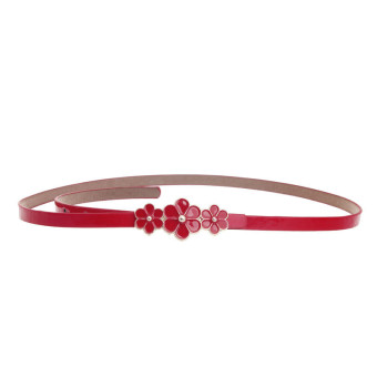 Women Leather Flower Waist Belt Waistband Red - Intl