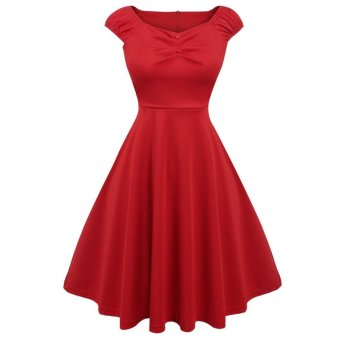 Sunweb Sexy Women Sleeveless Draped Fit and Flare Solid Party Knee Pleated Swing Dress ( Red ) - intl